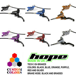 Hope Tech 3 E4 Enduro Brakes - Black / Braided Hose - All Colors - Brand New