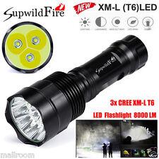 SupwildFire 12000LM Taschenlampe 3x CREE XM-L T6 LED 18650 Flashlight Licht DE