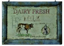 "VINTAGE RUSTIC STYLE FRAMED METAL SIGN ""DAIRY FRESH MILK"" ON HANGING WIRE"