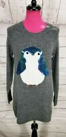 NWT Lauren Conrad Pullover Tunic Sweater Size S Womens Gray Knit Sequin Owl