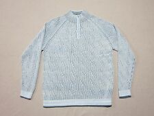 TOMMY BAHAMA MENS BLUE KINGSLEY CABLE KNIT TURTLE NECK STYLE ZIP SWEATER LARGE