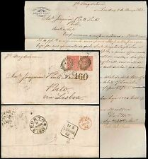 GB to PORTUGAL 1862 QV 4d x 2 PINTO LEITE LETTERHEAD + LONDON INLAND OFFICE 5