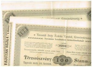 Set 2 Torontaler Localbahnen AG, Gross-Becskerek 1887, 100 Gulden, sehr schön,