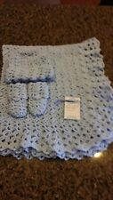"Hand-Crochet Blue Baby Set - Blanket, Hat, Booties Newborn Infant Boy **32"" X 37"