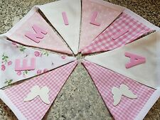 PERSONALISED BUNTING-WHITE & PINK BUTTERFLY MIX- ANY NAME- £1 PER FLAG, FREE P&P
