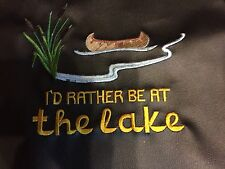 Waterproof Vinyl Fabric Backed  Embroidered Apron,I'd ather be at the lake