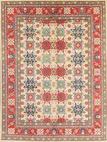 Geometric Ivory Super Kazak Oriental Area Rug Handmade Wool 9x12 All-Over Carpet
