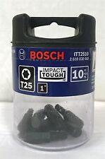 "NEW BOSCH 10PC 1"" T25 IMPACT TOUGH TORX SCREW BITS ITT2510 (1 JAR WITH 10 BITS)"