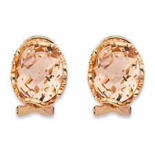 PalmBeach Jewelry Simulated Pink Morganite Rose Gold-Plated Silver Earrings