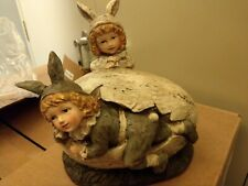 Vintage Victorian Easter Bunny Boy and Girl in egg Figurine Ragon House