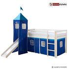 Hochbett Spielbett Kinderbett mit Rutsche Turm Vorhang blau 90x200 Jugendbett günstig