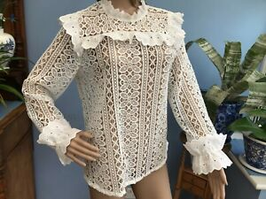 Monsoon White Long Sleeve Cotton Lace High Neck Blouse Top Size 12