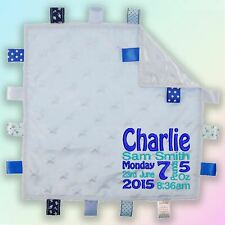 Baby Details Embroidered Baby Star Taggy Gift Blanket Personalised Blanket