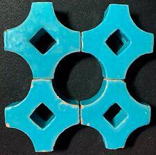 Set/4 Antique Persian Window Lattice Tile Turquoise 1800s Circle Pattern