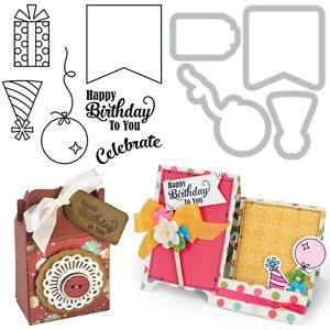 Happy Birthday Stamps & Dies - Celebrate, Present, Balloon, Party Hat, Sizzix