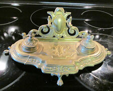 Vintage Double Brass Ink Well Rococo Style Footed Ornate GUC