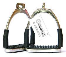 OFFSET EYE FLEXI SAFETY STIRRUPS OPTIMUM LEG POSITION HORSE RIDING SILVER BNWT