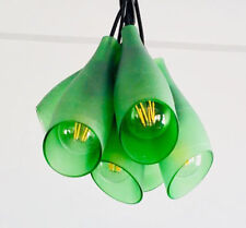 FROSTED GREEN LIGHT FixtureChandelier - Ceiling Lamp Made from Wine Bottles