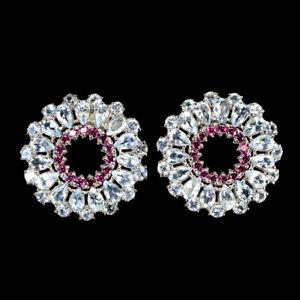 Unheated Pear Aquamarine Rhodolite Garnet 925 Sterling Silver Earrings