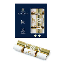 """Tom Smith Luxury Family Christmas Crackers Family 12 Pack Silver White Gold 12"""""""