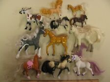 Lot Gray Brown Tall Plastic Toy Horse Figurine with plastic hair