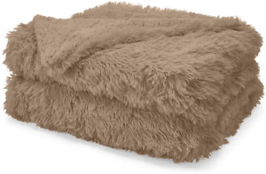 The Connecticut Home Company Soft FluffyShagBed Throw Blanket, Twin 80x60, Lux