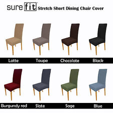 Color Choice SUREFIT Stretch Short Corduroy Dining Chair Cover Machine Washable