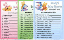 20 BABY POOH BABY SHOWER FAVORS GAME CARDS