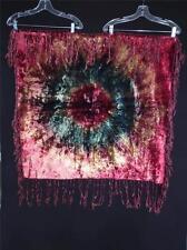 """Rare Antique Victorian-Edwarian Tie Dye Velvet Table Linen & Silk Fringe 35 1/2"""""""