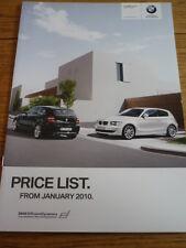 BMW 1 Serie Sport Hatch listino prezzi di vendita opuscolo Jan. 2010
