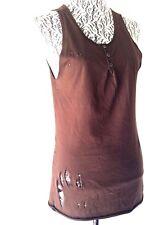 3a64ec5f867dc6 Dolce   Gabbana Brown Distressed Cotton Knit Sleeveless Scoop Neck Tank Top  46
