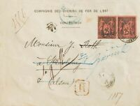 Francia. Over Yv 91 (2) .1879. 25 Cts Black on Red, Couple (Tariff: Card