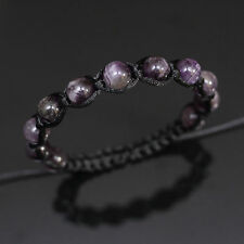10mm Amethyst Gem Stone Beads Black Shamballa Adjustable Bracelet Men Women