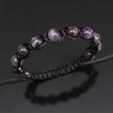 10mm Amethyst Crystal Quartz Beads Black Shamballa Adjustable Bracelet Men Women