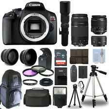 Canon EOS Rebel T7 / 1500D SLR+ 6 Lens 18-55 IS, 75-300, 50, 500 + 32GB PRO KIT!