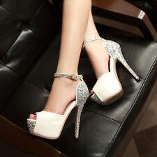 New Women Wedding Shoes Sandals Sequin Peep Toe Buckle Platform Block High Heels