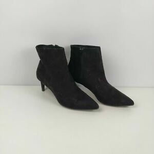 WOMENS H&M BLACK FAUX SUEDE ZIP UP HEELED ANKLE BOOTS SHOES UK 7 EU 40