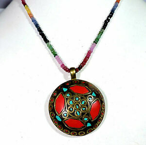 Natural Ruby Emerald Sapphire Coral And Turquoise Pendant Necklace Jewelry v987