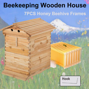 Upgraded Wooden Beekeeping Beehive House + 7PCS Auto Flow Bee Comb Hive Frames