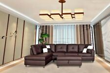 MEGA Brown Faux Leather Right-Facing Sectional Sofa Set with Ottoman 3 PC