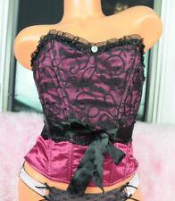 Coquette Dark Pink Satin Fancy Embroidered Black Mesh Corset Bustier Top sz S