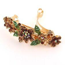 USA Seller beautiful silver tone rhinestone crystal flower hair clip barrette 99