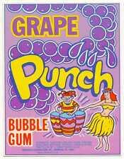 Grape Punch Bubble Gum Vending Machine Display Card