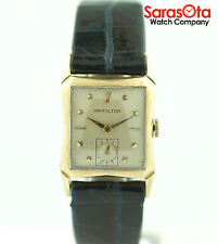 Vintage Hamilton 10K Gold Filled Blue Leather Rectangle Hand-Winding Men's Watch