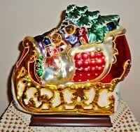 Vintage Christmas Mercury Glass Sleigh Centerpiece Toys Bear Tree Wood Base BRN