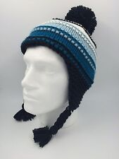 MENS JOHN ROCHA NAVY TURQUOISE WHITE STRIPED KNITTED HAT SIZE 56CM 0022