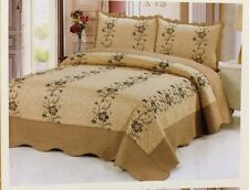3 Pc Gold Quilt Floral Embroidery Bedspread Size King Coverlet Bedding Set New