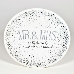 Enesco Our Name is Mud Wedding Eat Drink Be Married Platter Plate 11.25 Inch