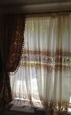 Brand New 5 Beautiful Piece Curtains Drapery Cream&Gold Lace 100% Hand Made