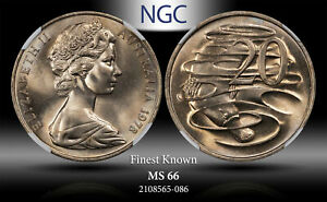 1978 AUSTRALIA 20 CENTS NGC MS 66 FINEST KNOWN